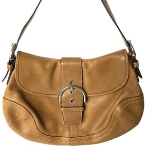 Coach Soho Leather Buckle Hobo Bag Cognac Tan 9248